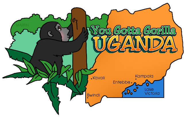 Africa Clip Art by Phillip Martin, Uganda Map